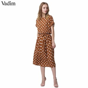 Wholesale Vadim vintage bow tie sashes dot pattern midi dress elastic waist short sleeve summer ladies casual dresses vestidos QA092