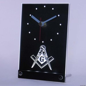 Wholesale-tnc0087 Masonic Mason Freemason Emblem Table Desk 3D LED Clock