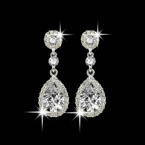 Wholesale Shining Fashion Crystals Earrings Silver Rhinestones Long Drop Earring For Women Bridal Jewelry Colors Wedding Gift For Friend