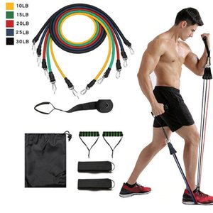 11Pcs Resistance Bands Set Yoga Exercise Fitness Band Rubber Loop Tube Bands Gym Door Anchor Ankle Straps with Bag Elastic Band