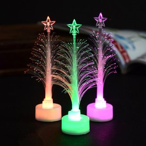 Wholesale Hot LED flashing Light up Cute LED Acrylic Decoration Gradient Transparent Christmas Tree Night Light Merry Christmas LED Light