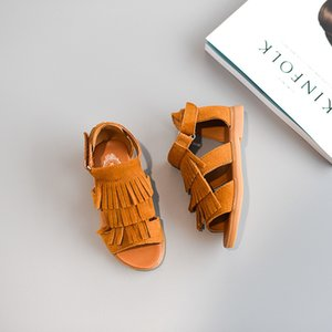 Kids Girl Sandals Baby Girls Shoes Short Ankle Children Gladiator Sandals Tassel Shoes Toddler Heels Real Genuine Leather Summer MX190727 on Sale