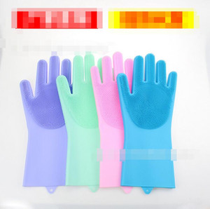 Wholesale Magic Silicone Rubbe Dish Washing Insulation Gloves Eco Friendly Scrubber Cleaning For Multipurpose Kitchen Bed Bathroom Hair Car colors