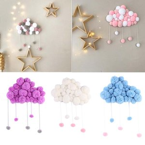 Wholesale Lolita colors baby kids Room Decoration Cloud With Fur ball INS Kids Cartoon decoration