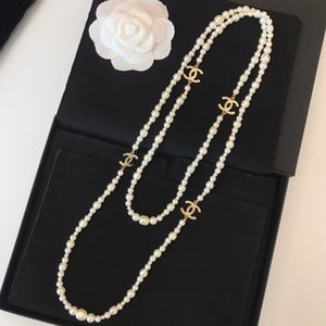 Wholesale Ladies necklace fashion new jewelry simple charm pearl string bead sweater chain classic long chain