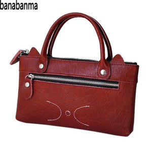 Wholesale Banabanma Woman Handbag Fashion Bags Simple Leather Wallet Compact Cute Cat Leisure Business Purse Hand Bags for Women ZK40