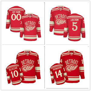 Custom Men PREMIER DETROIT RED WINGS 5 NICKLAS LIDSTROM 2014 WINTER CLASSIC Hockey JERSEY RED Stitched Logos embroidered Customized on Sale