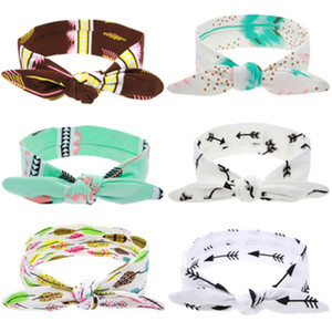Wholesale Europe Fashion DIY Colors Baby Head Bands Bunny Ear Knot Pattern Infant Headband Kids Elastic Headwear Children Hair Accessory DHL FJ388