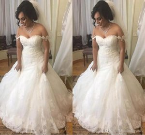 Wholesale A Line Wedding Dresses Bateau Offer Shoulder Lace Up Back with Court Train Fashion Dress For Women Elegant Beach Bridal Gowns