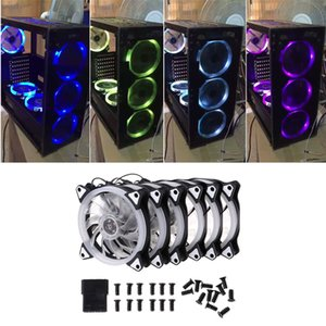 Wholesale 4pcs MM Computer PC Laptop Case Cooling Fan set Adjustable RGB LED Light Cooler Computer Cooling RGB Case Fans C26