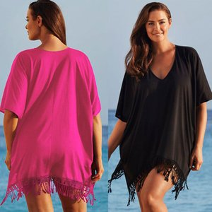 Wholesale Hot Tassel Women Swimwear Summer Beach Cover Up Plus Size Outings Beach Crochet Swim Suit Cover Ups Women Wear Sun