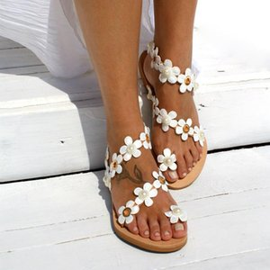 Wholesale Hot Sale New Fashion Women Casual Low Height Flat Heel Floral Decoration Slip On Sandals New Clothing Shoes Accessories