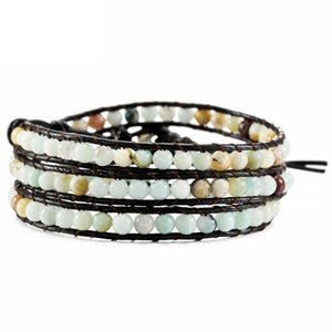 Wholesale Multi layer Leather Beaded Bracelet Adjustable Cuff Bead Rope Jewellery Gifts