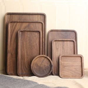 Wholesale Black walnut Wooden food Fruits Tray Goods Storage Breakfast Serving Plate Snack Dessert Containers Trays Box Plate Dish
