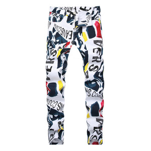 Wholesale Men D print Hip Hop denim Pants New Fashion Brand man casual pants D Painted Jeans Colorful White Skinny cotton Blend long trousers