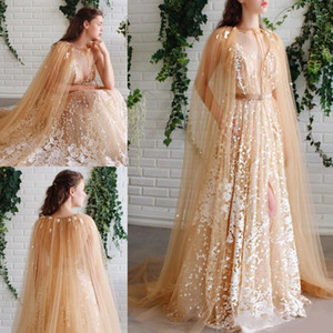 Wholesale Amazing Lace Appliqued Evening Dresses With Cape Sheer Plunging Neck Side Split Prom Gowns Floor Length Tulle Plus Size Formal Dress