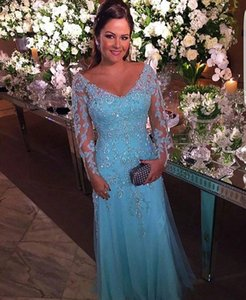 Wholesale Party Gala Dress Plus Size African Blue Long Sleeve Prom Evening Dresses Gown 2020 Long