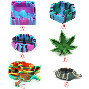 Wholesale 6 different shape silicone ashtray Ash Holder Case Colorful Pattern Home Office Tabletop Beautiful Decoration Craft smoking accessories