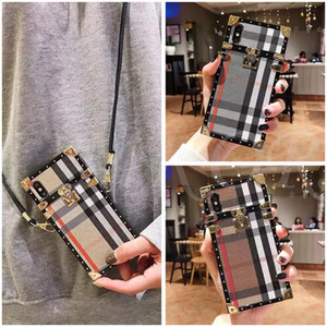 Wholesale Fabric Art Fashion Phone Case for iPhone PRO X XS MAX XR plus plus s Plus Cases Lattice Trendy Cover with Long Strap