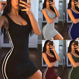 Wholesale Casual Tight Dress Women Fashion Sexy Stretch Slim Dresses Ladies Summer Striped Tank Mini Dress Plus Size Vestidos