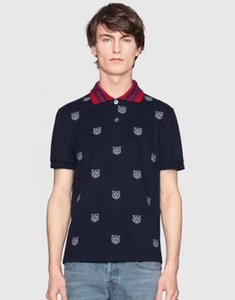 Discount Summer Men Casual Polo Shirts Tiger Leopard Tiger Printed Cotton Short Sleeve Fashion Man Sport Polos Tops Size M-3XL Black