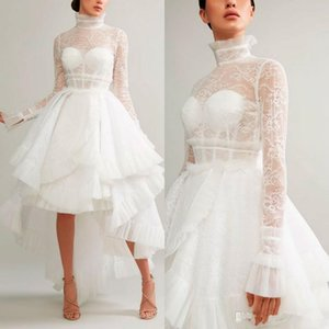 Wholesale Ashi Studio 2019 Evening Dresses A Line High Neck Hi-Lo Long Sleeves Lace Appliques White Formal Prom Dress Arabic Special Occasion Gowns