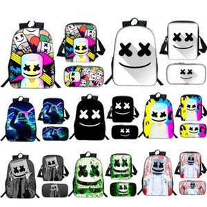 Wholesale Kid Boy Girls Set Backpack DJ Marshmello Helmet Schoolbag Lunch Bags Pencil Pen Case Primary Student Rucksack Bookbag Bag Pack Satchel