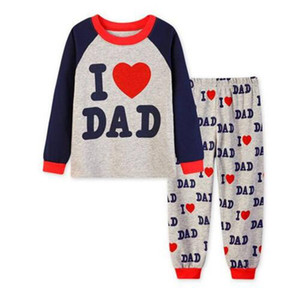 New Drop Shipping Cotton Children Sleepwear I Love Dad Long Sleeves Night wear Pijamas For Boy I Love Mom Sleeping Clothes Sets