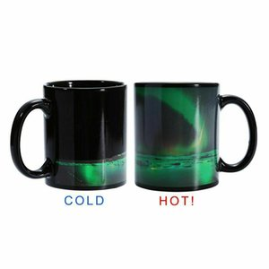 Wholesale Hot Magic Coffee Mug Color Changing Mug Aurora Pattern Polar light Heat Sensitive Coffee Cup Drinkware Creative Gifts
