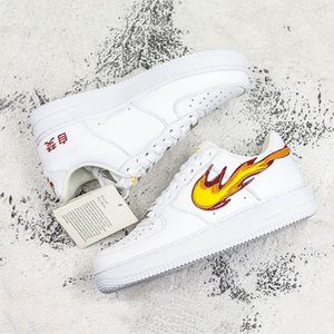 New Forced 1 Skateboard Shoes Play With Fire Chinese Characters Print Men Women Comfortable Outdoor Sneakers on Sale