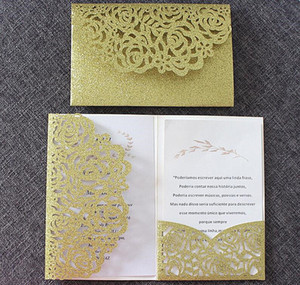 Luxury glitter gold wedding invitations transparent envelop personalized inserts rose laser cutting party pocket invit(no inner no envelope)