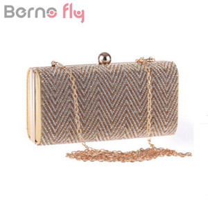 Berno fly Fashion Women Evening Bag Rhinestones Chain Shoulder Messenger Bag One Side Acrylic Silver gold black Clutch Purse