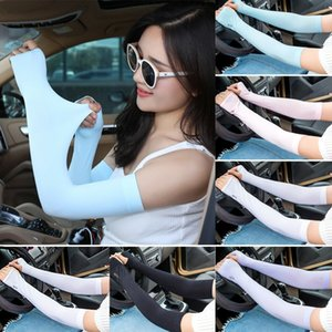 Wholesale 2019 New Style Solid Pair UV Protection Sleeves Arm Sun Block Cover Stretchy Cycling Golf Arm Warmers
