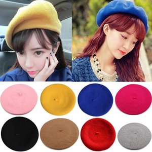 Wholesale Solid Color Warm Wool Winter Women Girl Beret French Artist Beanie Hat Ladies Fashion Stylish Casual Cap Colors