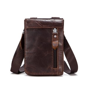 Wholesale Fashion Shoulder Bag Men Genuine Leather Bussiness Messenger Bag Travel Causal Waist Bags Teenager Multifunctional Mini Belt