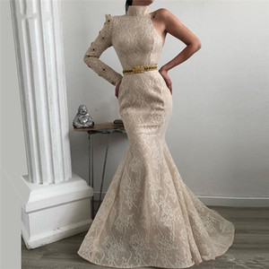 Wholesale African Dubai Lace Beading Evening Dresses High Neck Robe de soiree Aibye Muslim Turkish Prom Pageant Gown With One Sleeves Abendkleider