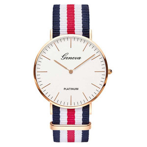 Wholesale Fashion Casual Quartz Watch with Multicolor Nylon Cloth Watchband Wristwatch Simple Designer Women Men Watches Clock Orologio