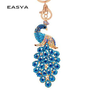 Wholesale EASYA Colors Bling Rhinestone KeyChain Elegant Colorful Peacock Keychain Peafowl Peahen Keyring Bag Pendant Car Key Chain Ring