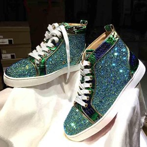 Wholesale hightop sneakers resale online - With Boxes Wedding Designs Fashion Men Red Soles Sneaker Suede Leather Gold Strass Louflat Hightop Sneaker Winter Men Women sports Shoes