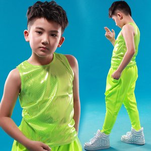 Wholesale Spring summer Kids Adult Neon Green Top Children Boys Girls Unisex performance clothing Dot Unisex bead thin Hip Hop Dance Vest