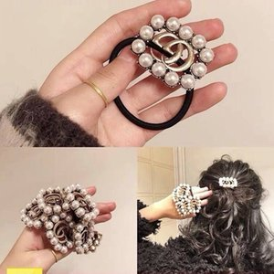 Wholesale Hot Sale Brand Hair Rubber Exquisite Pearl Crystal Hair Rope Famous Letter Elastic Hair Ties Fashion Women Luxury Jewelry Accessories