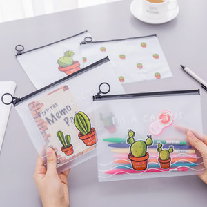 Wholesale Large Capacity Transparent Pens Bag Women Cactus Plastic Pencil Bag Travel Make Up Beauty Toiletry Bags Female Makeup Organizer DH1443 T03