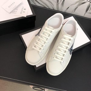 2019 Wholesale Hot sale Luxury Fashion Unisex Printed Animal Flat Genuine leather with box and dusty bag Flat top quality White 35-45