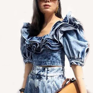 Wholesale Ruffle Denim Crop Tops Female Puff Sleeve Square Collar Sexy Shirt Blouse Women Summer Fashion New
