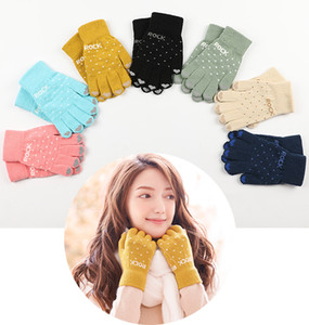 Free DHL 2020 Winter Warm Outdoor Ski Knit Fashion Gloves Thick Wool Cotton Five Finger Mittens Cute Knitting Gloves for Women Girls M690F