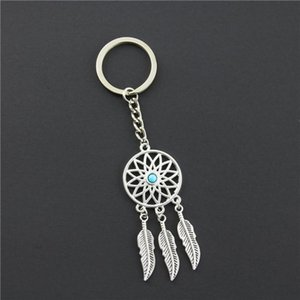 Wholesale 2018 Fashion Dream Catcher Tone Key Chain Silver Ring Feather Tassels Keyring Keychain For Gift