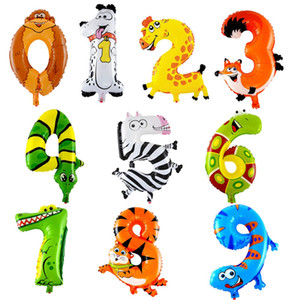 Wholesale Cartoon Animals Number Foil Balloons Digit Animal head Inflatable Balloons Happy Birthday Party Baby room Decor kids gifts
