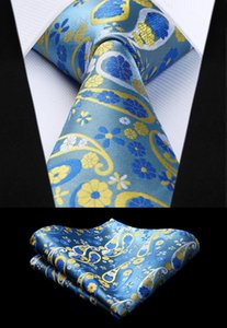 Wholesale Necktie Handkerchief Set Party Wedding Classic Fashion Pocket Square Tie New Floral Mens Tie Blue Yellow Woven Silk TP827Y8S