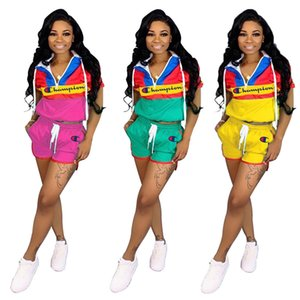 Women Champions Patchwork Color Tracksuit Short Sleeve Mandarin Collar Zipper Hoodies T shirt Shorts 2pcs set Outfit Jogger Sports Suit A436