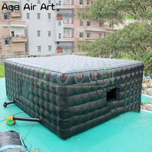 Total black canopy house balloon inflatable cube marquee tent,event gathering pavilion square shows room with removable sticker covers